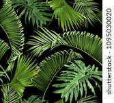 vector tropical leaves seamless ... | Shutterstock .eps vector #1095030020