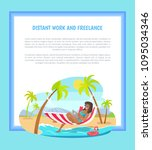 distant work and freelance web... | Shutterstock .eps vector #1095034346
