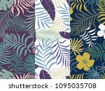 set of three seamless floral...   Shutterstock .eps vector #1095035708