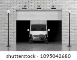cargo van in garage with... | Shutterstock . vector #1095042680