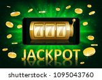 jackpot shiny gold casino label ... | Shutterstock .eps vector #1095043760