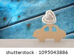image of wooden car with heart... | Shutterstock . vector #1095043886