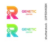 letter r colorful with dna... | Shutterstock .eps vector #1095044084