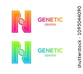 letter n colorful with dna... | Shutterstock .eps vector #1095044090