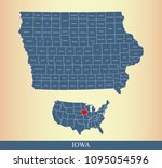 iowa county map with names... | Shutterstock .eps vector #1095054596