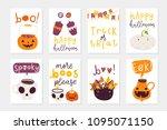 vector set of halloween... | Shutterstock .eps vector #1095071150