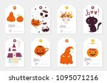 set of 8 halloween gift tags.... | Shutterstock .eps vector #1095071216