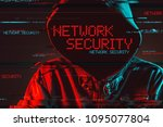 network security concept with... | Shutterstock . vector #1095077804