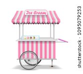 realistic street food cart with ... | Shutterstock .eps vector #1095079253