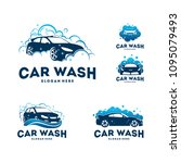 set of car wash logo designs... | Shutterstock .eps vector #1095079493