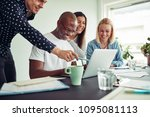 diverse group of smiling... | Shutterstock . vector #1095081113