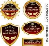 luxury warranty red  black and... | Shutterstock .eps vector #1095082970