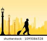 a elderly businessman traveling ... | Shutterstock .eps vector #1095086528