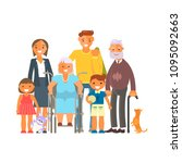 big family portrait isolated on ... | Shutterstock . vector #1095092663