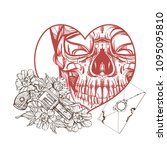 skull contour sketch for tattoo ... | Shutterstock .eps vector #1095095810