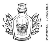 skull contour sketch for tattoo ... | Shutterstock .eps vector #1095095816
