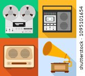 retro audio technique. a set of ... | Shutterstock .eps vector #1095101654