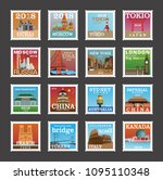 postage stamp collection france ... | Shutterstock .eps vector #1095110348
