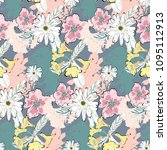 cute summer pattern with white... | Shutterstock .eps vector #1095112913