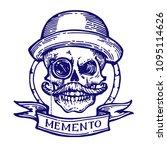 skull in bowler hat with... | Shutterstock .eps vector #1095114626