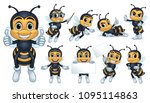 Stock vector bee mascot character with poses 1095114863