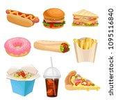 flat vector set of fast food... | Shutterstock .eps vector #1095116840