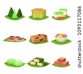 flat vector set of delicious... | Shutterstock .eps vector #1095117086