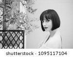 woman with brunette hair  red...   Shutterstock . vector #1095117104