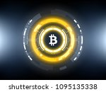golden bitcoin cryprocurrency... | Shutterstock .eps vector #1095135338