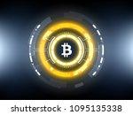 golden bitcoin cryprocurrency... | Shutterstock .eps vector #1095135338