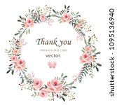 wreath. flower frame with pink... | Shutterstock .eps vector #1095136940