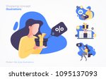 set of shopping concept... | Shutterstock .eps vector #1095137093
