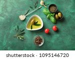 composition with fresh olive... | Shutterstock . vector #1095146720