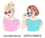 portraits of two young... | Shutterstock .eps vector #1095150893