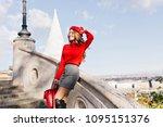graceful girl in gray skirt... | Shutterstock . vector #1095151376