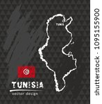 map of tunisia  chalk sketch... | Shutterstock .eps vector #1095155900