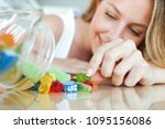 close up of pretty young woman... | Shutterstock . vector #1095156086