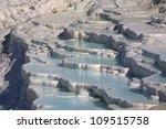 Shimmering blue pools of Pumakkale, Turkey - stock photo