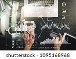 investor analyzing stock market ... | Shutterstock . vector #1095168968