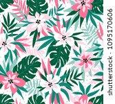 hawaiian seamless pattern with... | Shutterstock .eps vector #1095170606