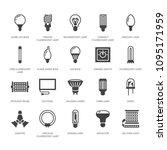 light bulbs flat glyph icons.... | Shutterstock .eps vector #1095171959