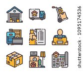 9 vector flat moving icons set. ...