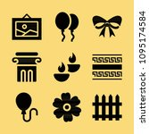 Filled set of 9 decoration icons such as balloons, balloon, column, christmas ribbon, candle, garden fence, greek ornament, daisy