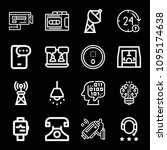 outline set of 16 technology... | Shutterstock .eps vector #1095174638