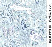vector floral seamless pattern... | Shutterstock .eps vector #1095175169