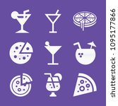 filled set of 9 food icons such ... | Shutterstock .eps vector #1095177866