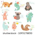 big vector set of cartoon... | Shutterstock .eps vector #1095178850