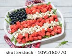 patriotic american flag salad... | Shutterstock . vector #1095180770