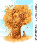 tree of knowledge. back to... | Shutterstock .eps vector #1095183080