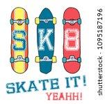 skate board vector... | Shutterstock .eps vector #1095187196